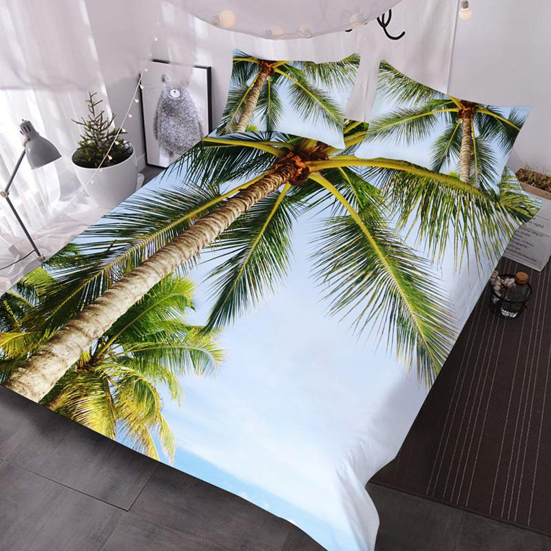 3D Coconut Tree Lightweight Warm 3Pcs Scenery Comforter Set with 2 Pillow Shams