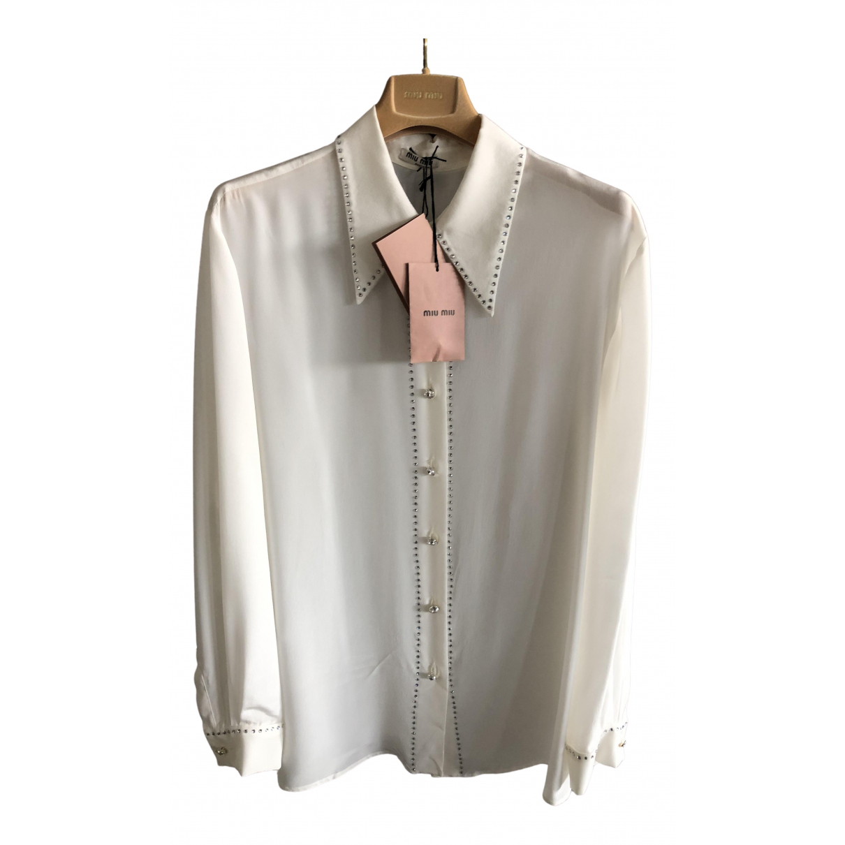 Miu Miu - Top   pour femme en soie - blanc