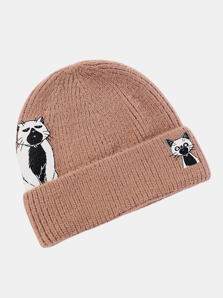 Women Wool Warm Windproof Sunvisor Cat And Dog Printing Knitted Hat Beanie Hat