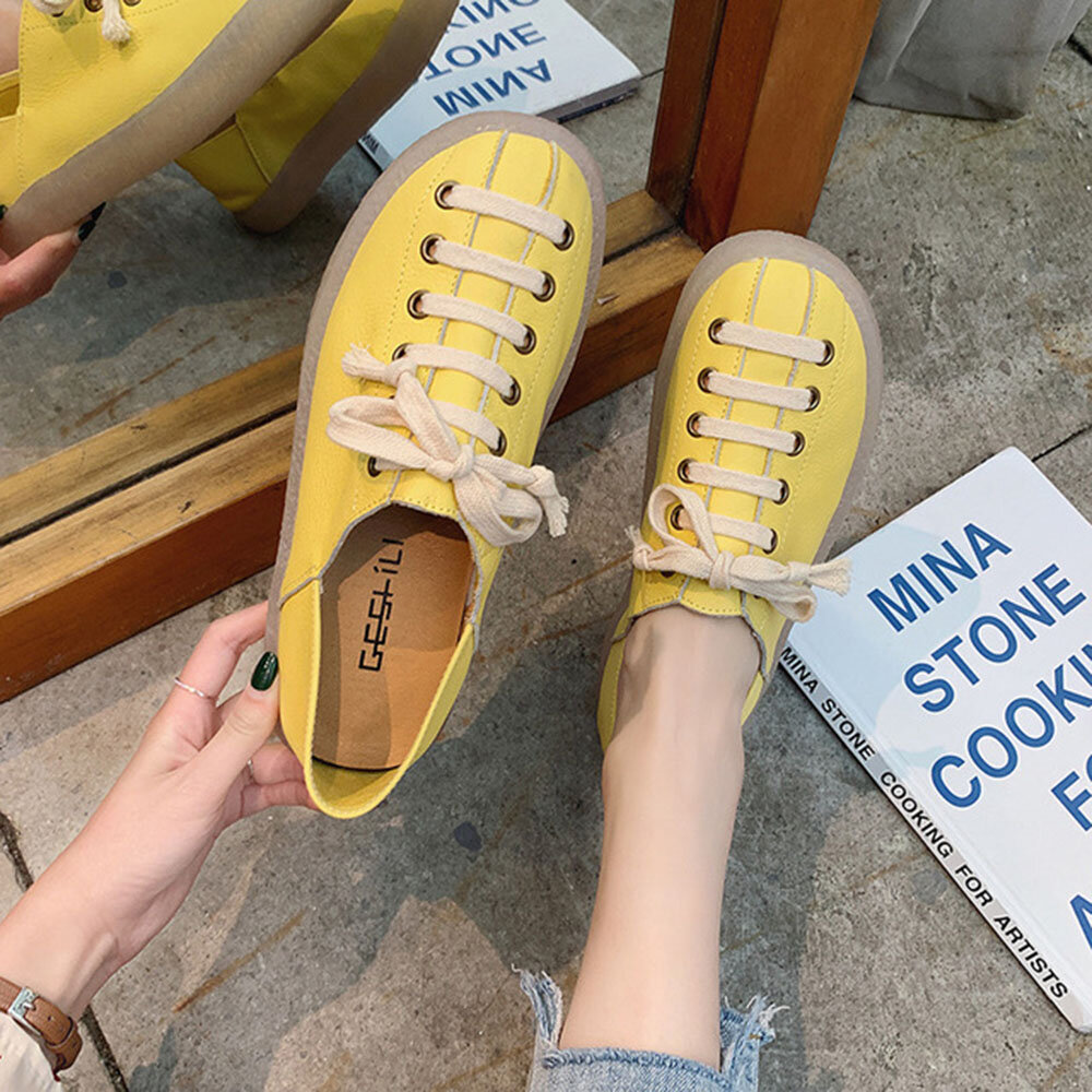 Women Lace Up Solid Color Casual Fashion Claosed Toe Flat Shoes