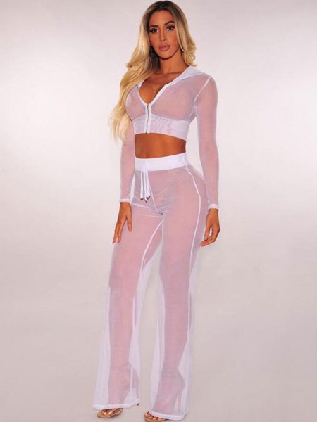 Milanoo Sexy Two Piece Set Women Long Sleeve Hooded Crop Top With Sheer Pants