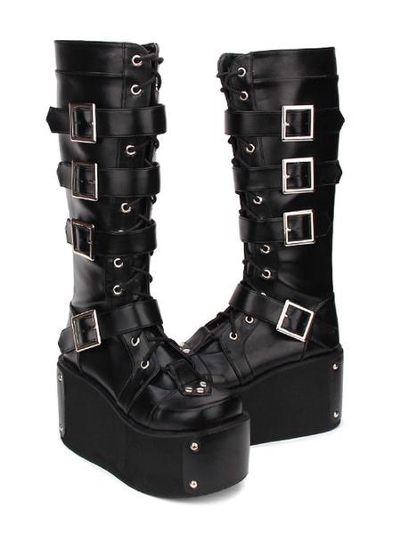 Milanoo Gothic Lolita Boots Hebilla remache plataforma PU negro Lolita calzado