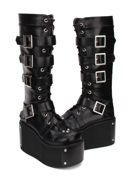 Milanoo Gothic Lolita Boots Buckle Rivet Platform PU Black Lolita Footwear