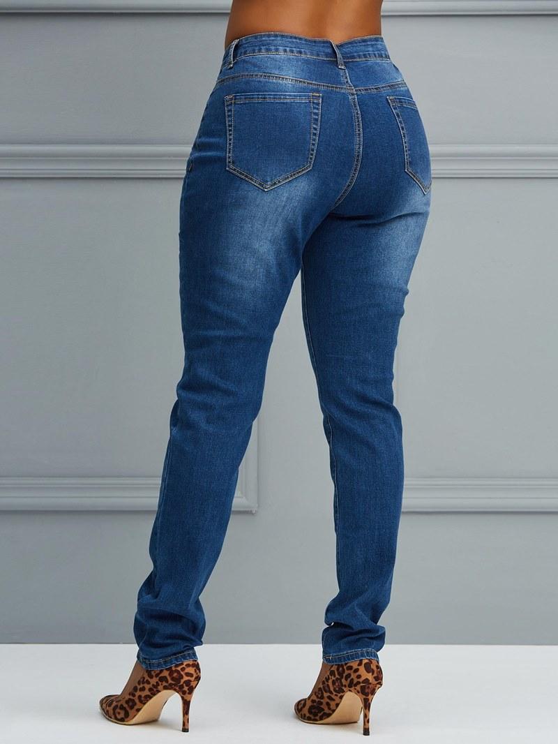 Ericdress Button Skinny Plain Women's Jeans