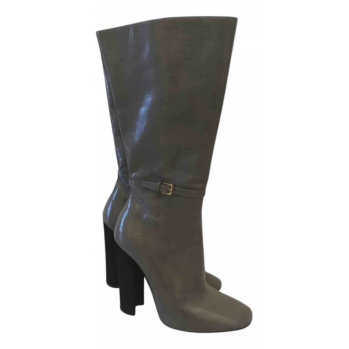 Yves Saint Laurent - Bottes   pour femme en cuir - gris