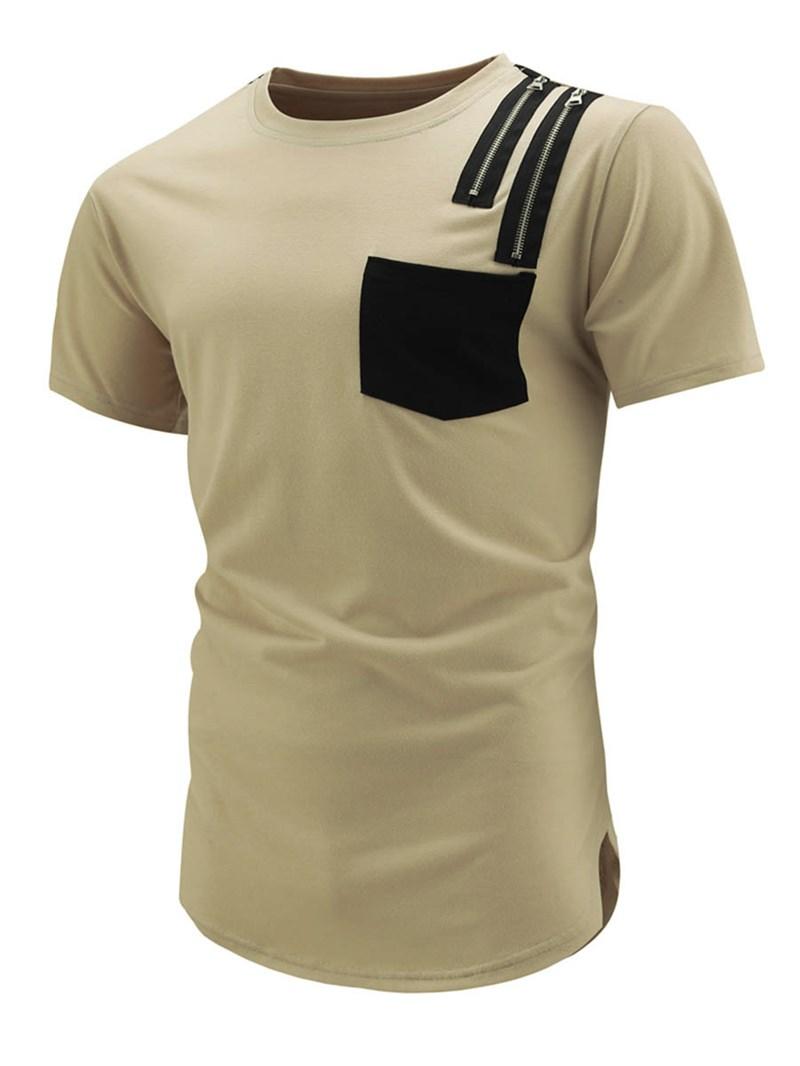 Ericdress Zip Pocket Patched Casual Short Sleeve Men's T-Shirt
