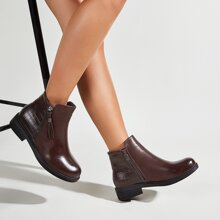 Croc Embossed Side Zip Ankle Boots