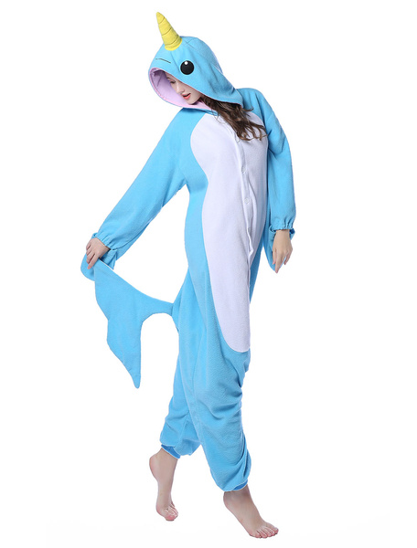Milanoo Blue Kigurumi Pajama Narwhal Flannel Adult Winter Sleepwear Animal Costume Halloween