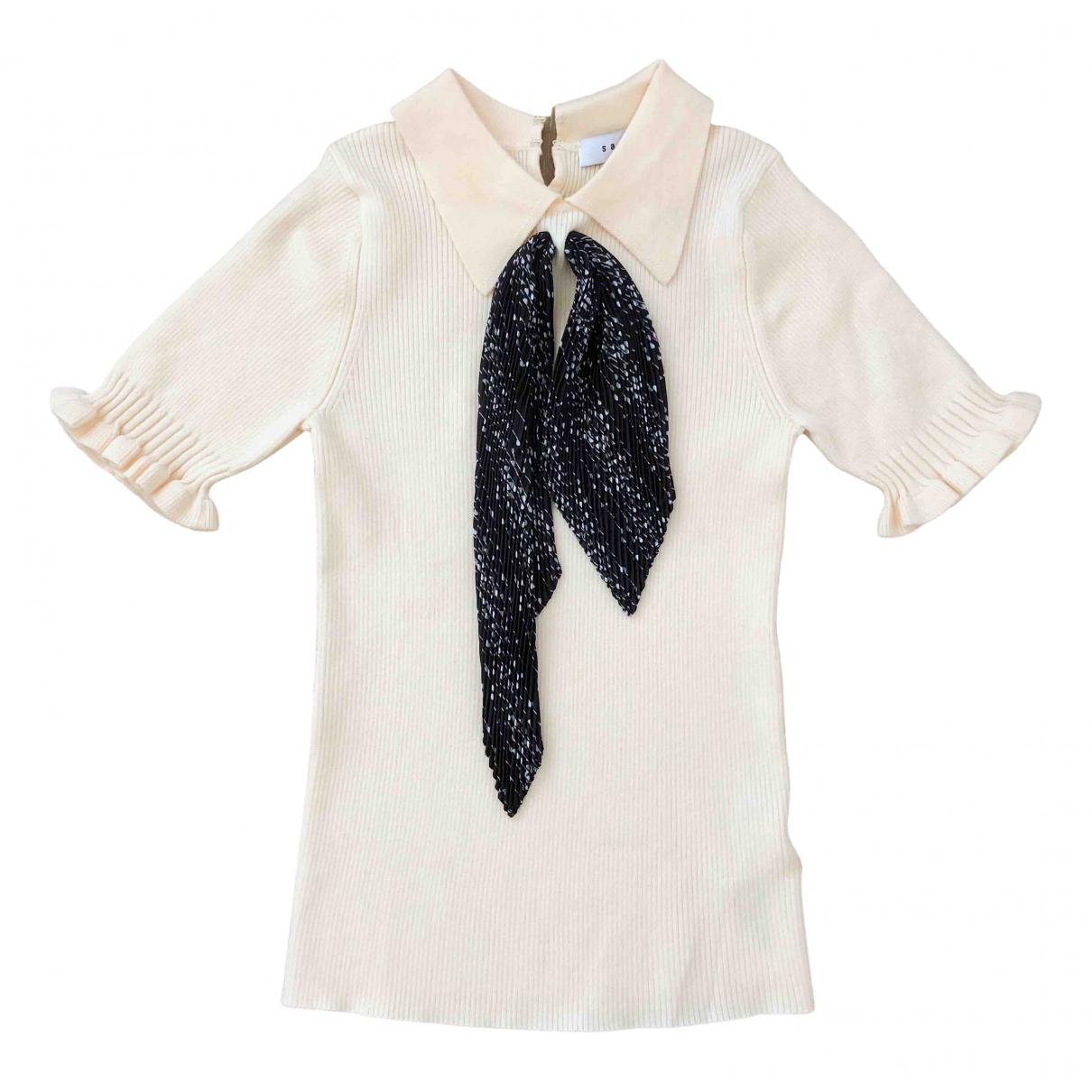Sandro - Pull Spring Summer 2020 pour femme en coton - ecru