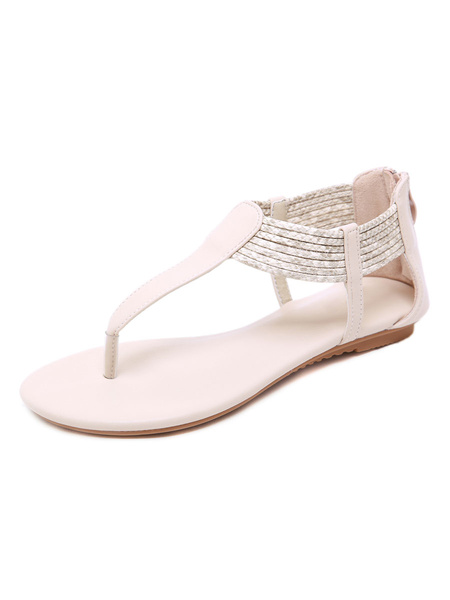 Milanoo Flat Sandals For Women Casual Flat PU Leather
