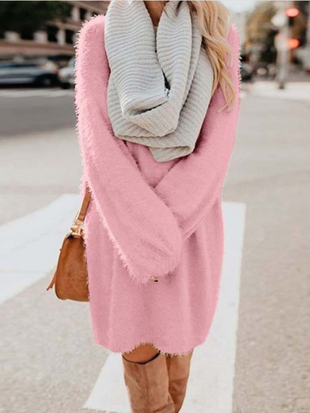 Yoins Fleece Round Neck Long Sleeves Dress