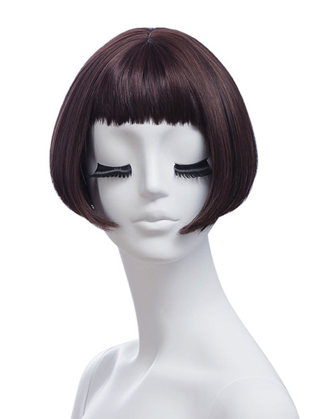 Milanoo Synthetic Wigs Deep Brown Straight Rayon Short Short Wig For Woman