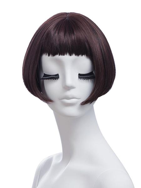 Milanoo Pelucas sinteticas Peluca corta corta de rayon recto marron oscuro para mujer