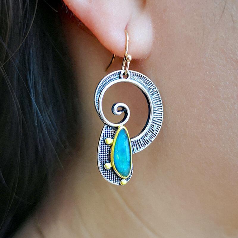 Vintage 925 Silver Plated Women Earrings Spiral Color Separation Opal Pendant Earrings