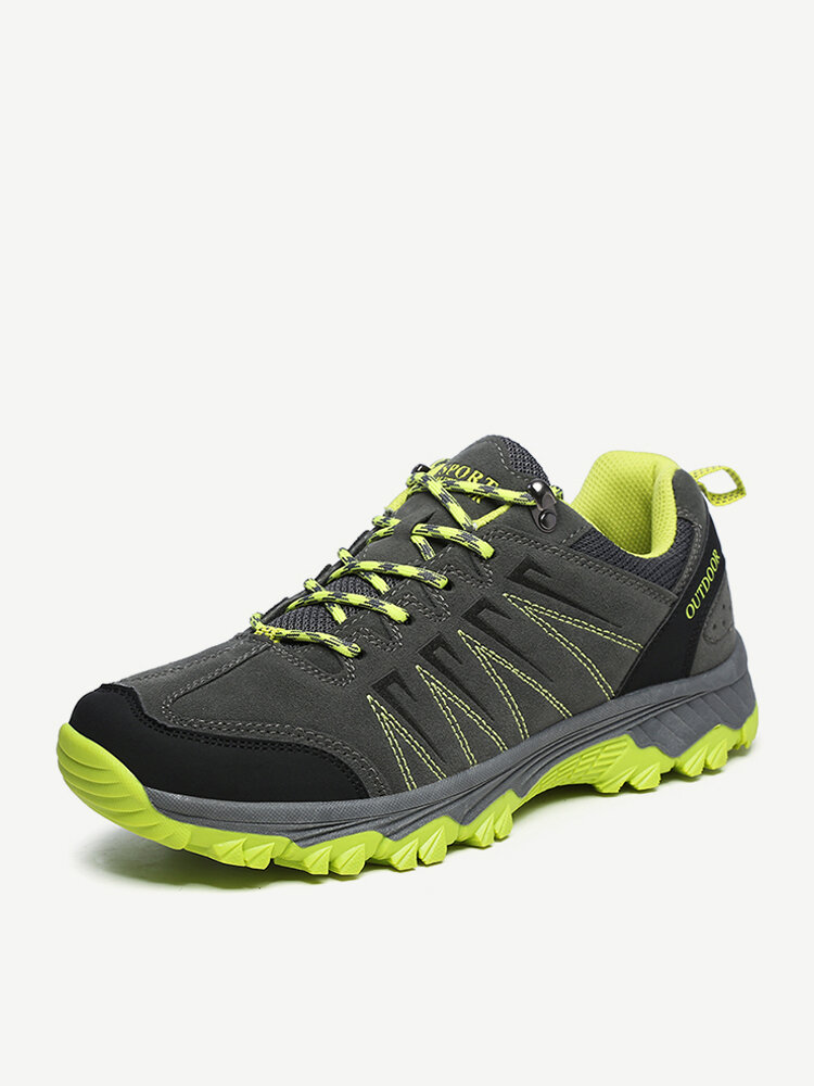 Men Suede Outdoor Slip Resistant Casual Lace Up Hiking Shoes
