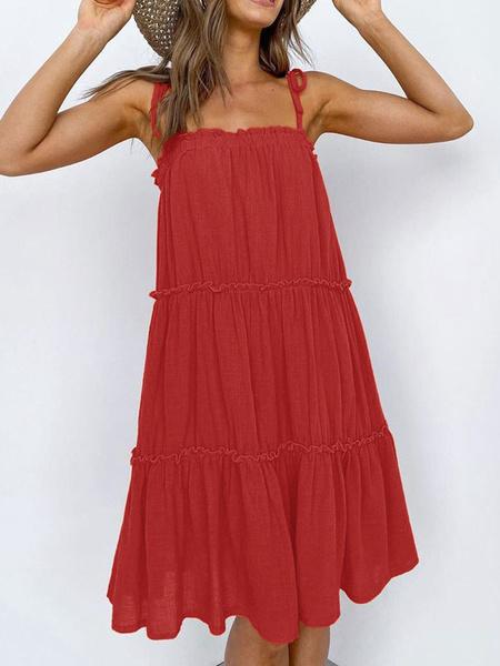 Milanoo Mezcla vestido de verano rojo de las mujeres correas de algodon de cuello Vestido de tirantes