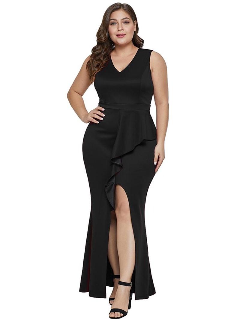 Ericdress Plus Size Floor-Length V-Neck Sleeveless Asymmetric Sexy Dress