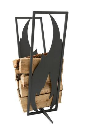 Curonian LRFLAMEBL Flame Firewood Rack with Unique Flame Design and Powder Coated Steel Construction in