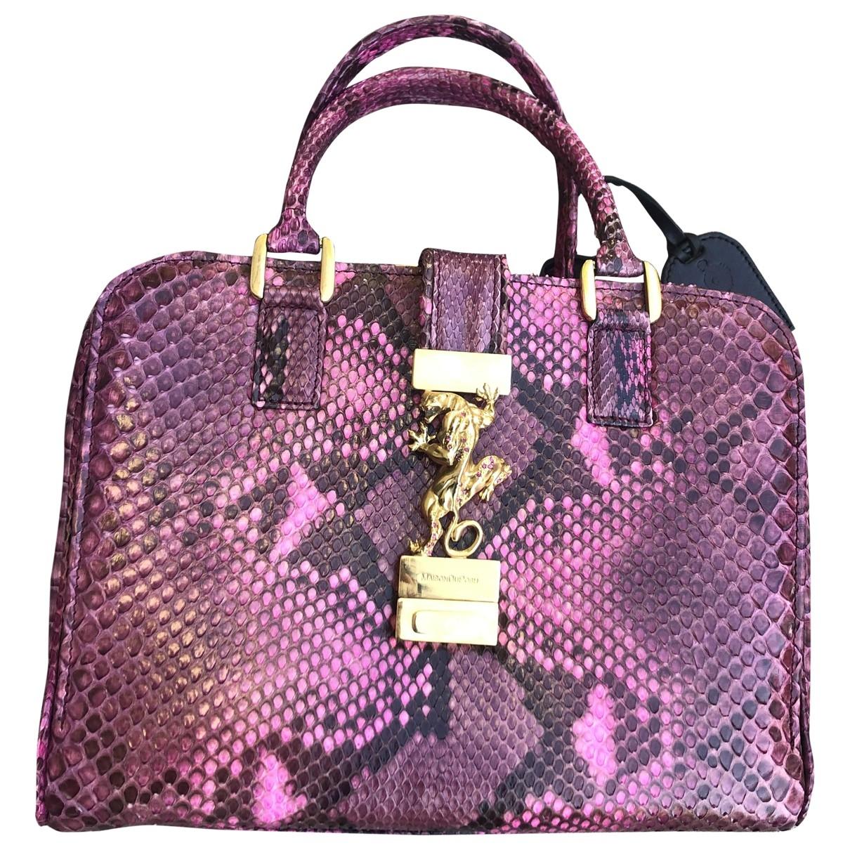 Maison Du Posh \N Handtasche in  Lila Python