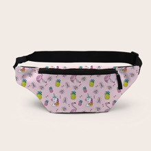 Unicorn & Pineapple Graphic Zip Front Fanny Pack