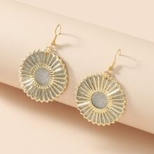 Round Charm Glitter Drop Earrings