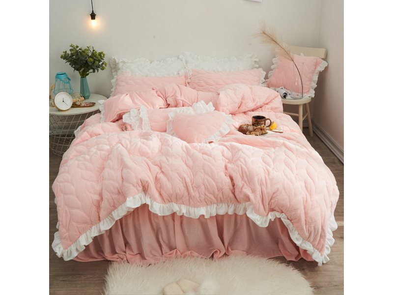Flounces Flannel Quilting Seam Bed Skirt 4-Piece Fluffy Bedding Sets/Duvet Cover 5 Colors Optional