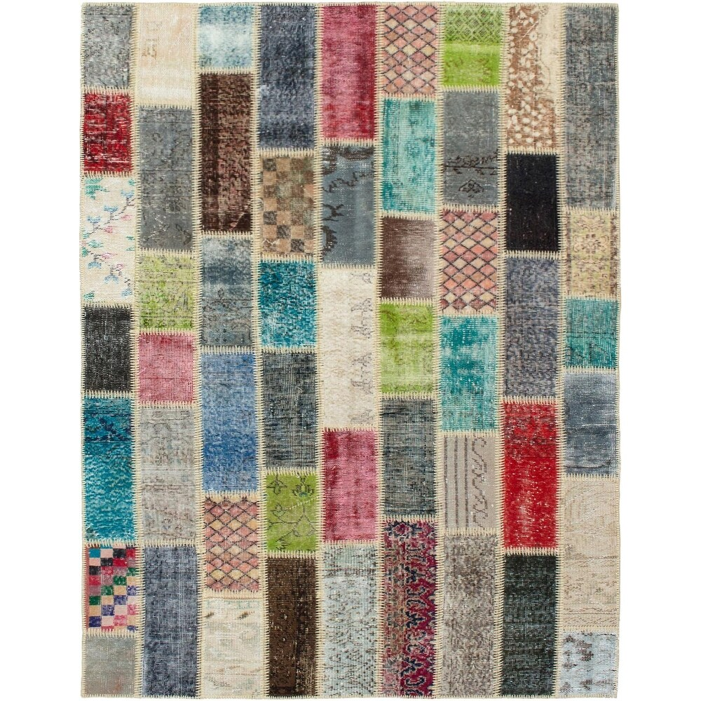 ECARPETGALLERY Hand-knotted Color Transition Patchwork Multi Wool Rug - 5'5 x 7'8 (Multi Color - 5'5 x 7'8)
