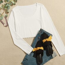 Contrast Lace Scoop Neck Ribbed Tee