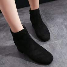 Solid Chunky Heeled Ankle Boots