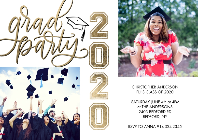 2020 Graduation Invitations Flat Glossy Photo Paper Cards with Envelopes, 5x7, Card & Stationery -Grad Party 2020 Gold Script by Tumbalina