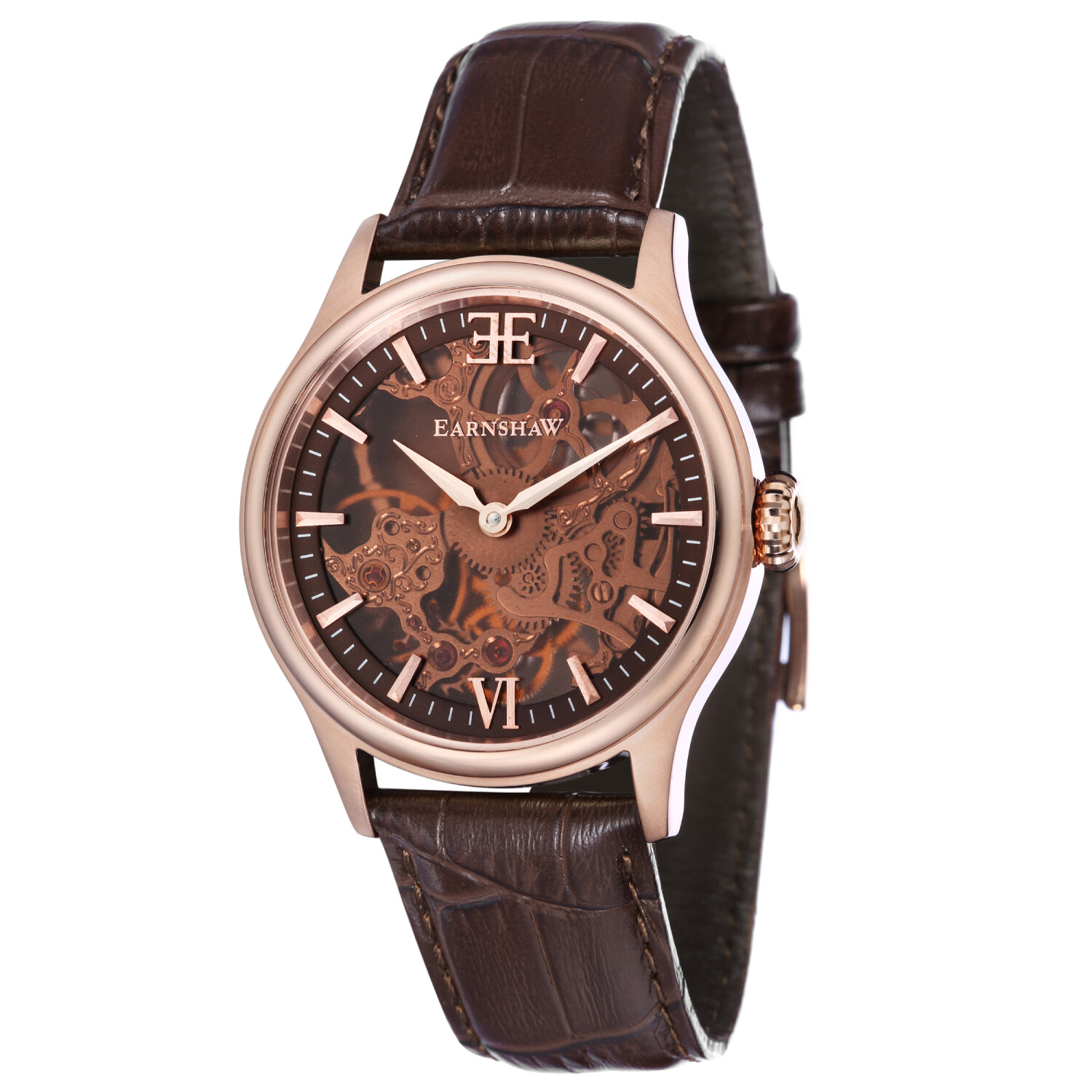 Thomas Earnshaw Men's Bauer Shadow Skeleton Mechanical ES-8061-04 Brown Leather Hand Wind Dress Watch