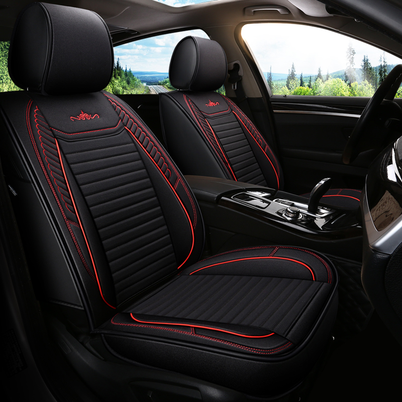 PU Leather Material Business Style All Seasons Fit Five Seats Universal Seat Covers With Front Seat Cover*2 Rear Seat Bench Cover*1 Rear Seat Armrest