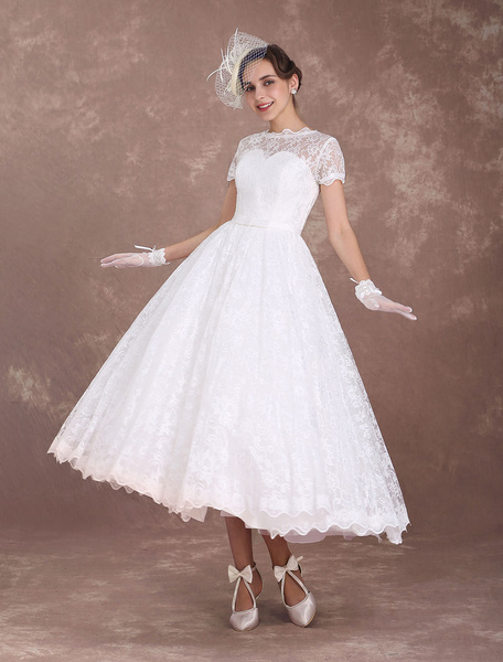 Milanoo Lace Wedding Dresses Short Sleeve 1950's Vintage Bridal Dress Sweetheart Illusion Ivory A Line Tea Length Wedding Reception Dress
