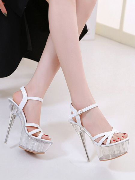 Milanoo High Heel Sexy Sandals White PU Leather Open Toe 2 5.9 Sexy Shoes