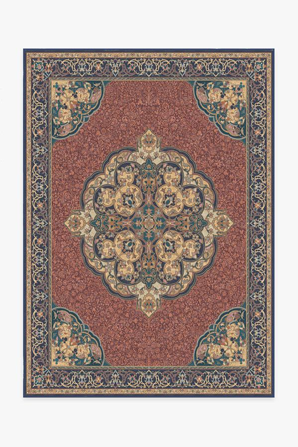 Washable Rug Cover & Pad   Mickey Persian Burgundy Rug   Stain-Resistant   Ruggable   5'x7'