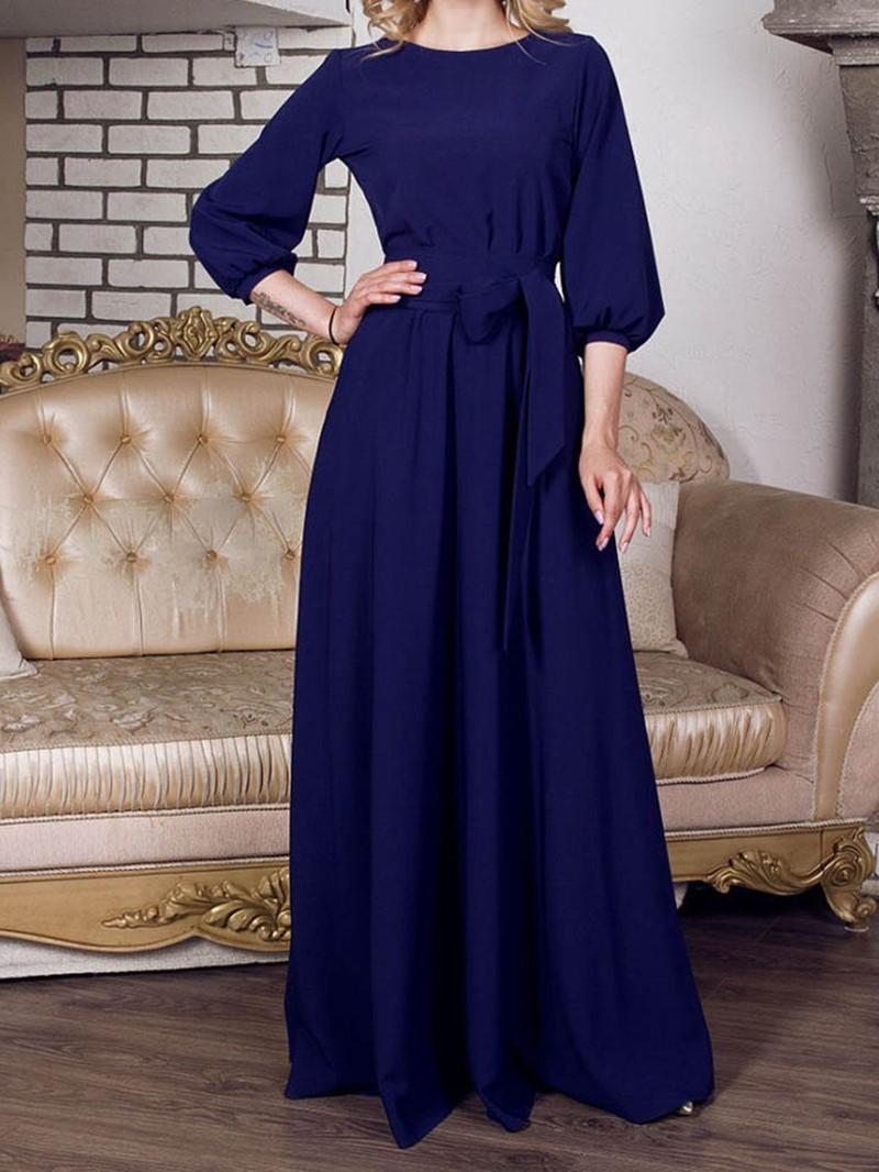 Ericdress Pocket A-Line Expansion Plain Maxi Dress