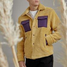 Men Button Front Patch Pocket Teddy Jacket