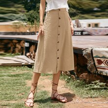 Solid Pocket Patched Button Front Skirt