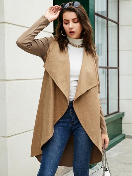 YOINS Khaki Side Pockets Long Sleeves Coat