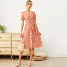 Tie Front Shirred Panel Back Puff Sleeve Dress