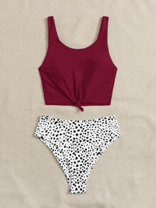Dalmatian Knot Detail High Waisted Bikini Swimsuit