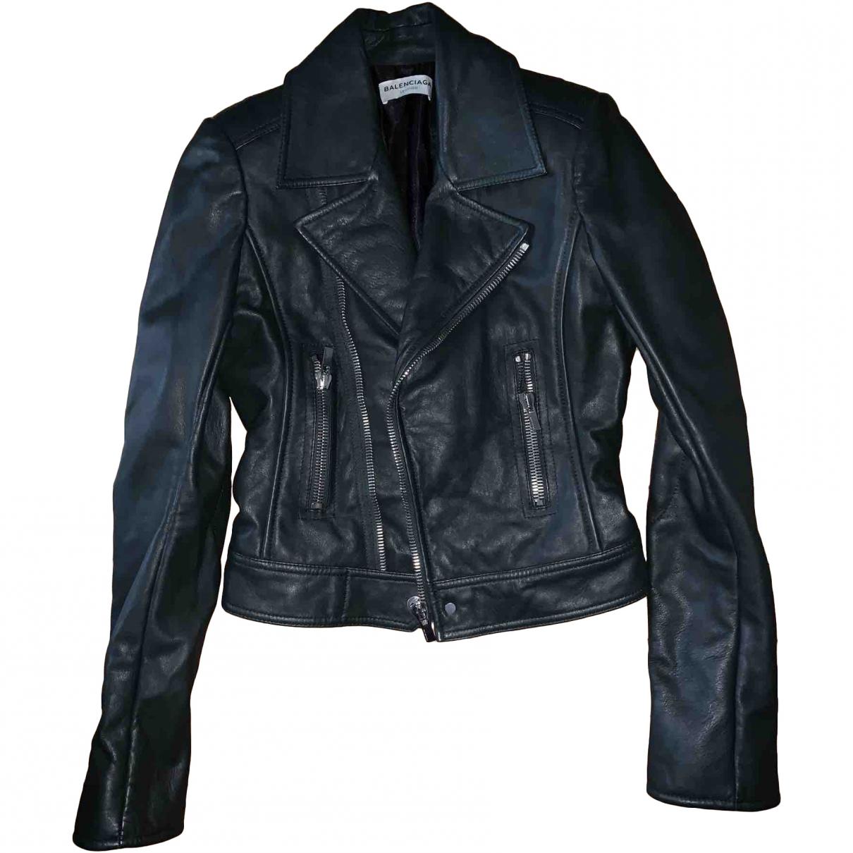 Balenciaga \N Green Leather Leather jacket for Women 36 FR