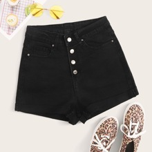 Black Wash Button Fly Denim Shorts