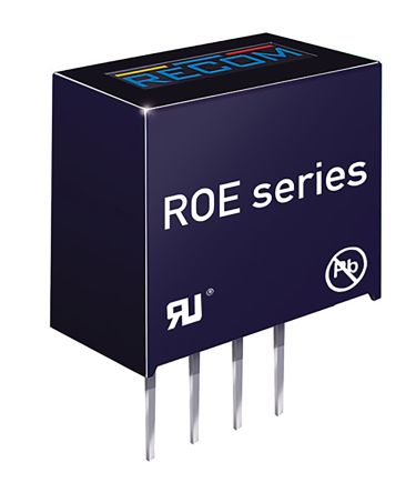 Recom ROE 1W Isolated DC-DC Converter Through Hole, Voltage in 10.8 → 13.2 V dc, Voltage out 5V dc