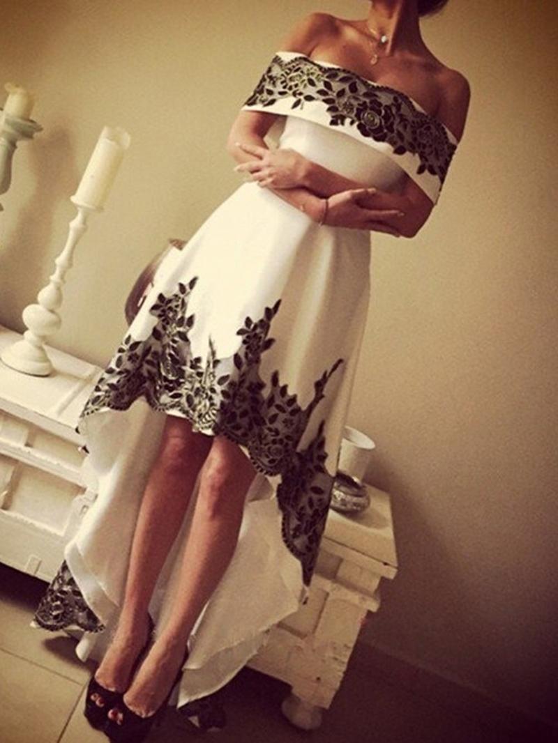 Ericdress Off-The-Shoulder Appliques Asymmetry Evening Dress