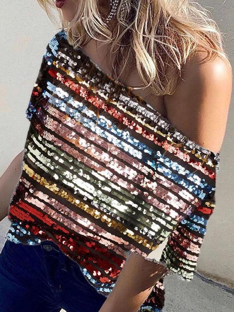 Ericdress Standard Sequins Off Shoulder Half Sleeve Loose Casual T-Shirt