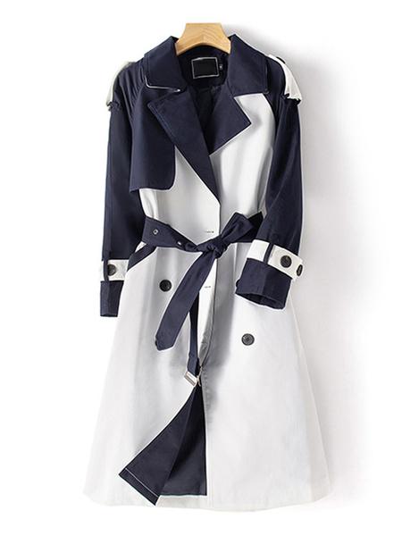 Milanoo Outerwear For Woman Baby Blue Turndown Collar Sash Color Block Wrap Coat