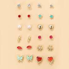 12pairs Toddler Girls Rhinestone Heart Decor Earrings