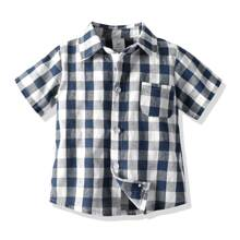 Toddler Boys Pocket Patched Button Up Gingham Shirt