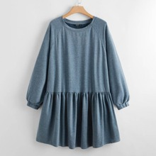 Plus Raglan Sleeve Flounce Hem Sweatshirt Dress